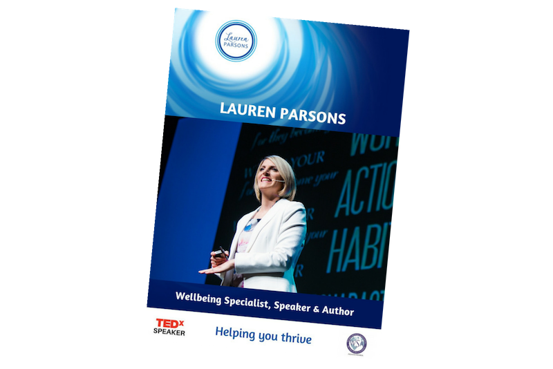 Lauren Parsons Wellbeing Specialist Speaker and Author Speakers Kit